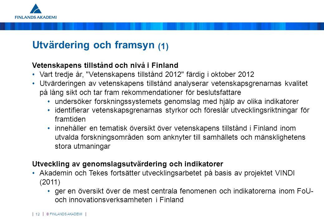 © FINLANDS AKADEMI 12 Utvärdering och framsyn (1) Vetenskapens tillstånd och nivå i Finland Vart tredje år, Vetenskapens tillstånd 2012 färdig i oktober 2012 Utvärderingen av vetenskapens tillstånd analyserar vetenskapsgrenarnas kvalitet på lång sikt och tar fram rekommendationer för beslutsfattare undersöker forskningssystemets genomslag med hjälp av olika indikatorer identifierar vetenskapsgrenarnas styrkor och föreslår utvecklingsriktningar för framtiden innehåller en tematisk översikt över vetenskapens tillstånd i Finland inom utvalda forskningsområden som anknyter till samhällets och mänsklighetens stora utmaningar Utveckling av genomslagsutvärdering och indikatorer Akademin och Tekes fortsätter utvecklingsarbetet på basis av projektet VINDI (2011) ger en översikt över de mest centrala fenomenen och indikatorerna inom FoU- och innovationsverksamheten i Finland