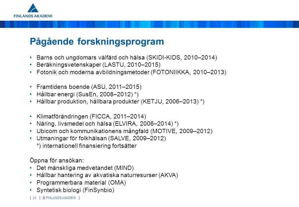 © FINLANDS AKADEMI 21 Pågående forskningsprogram Barns och ungdomars välfärd och hälsa (SKIDI-KIDS, 2010–2014) Beräkningsvetenskaper (LASTU, 2010–2015) Fotonik och moderna avbildningsmetoder (FOTONIIKKA, 2010–2013) Framtidens boende (ASU, 2011–2015) Hållbar energi (SusEn, 2008–2012) *) Hållbar produktion, hållbara produkter (KETJU, 2006–2013) *) Klimatförändringen (FICCA, 2011–2014) Näring, livsmedel och hälsa (ELVIRA, 2006–2014) *) Ubicom och kommunikationens mångfald (MOTIVE, 2009–2012) Utmaningar för folkhälsan (SALVE, 2009–2012) *) internationell finansiering fortsätter Öppna för ansökan: Det mänskliga medvetandet (MIND) Hållbar hantering av akvatiska naturresurser (AKVA) Programmerbara material (OMA) Syntetisk biologi (FinSynbio)