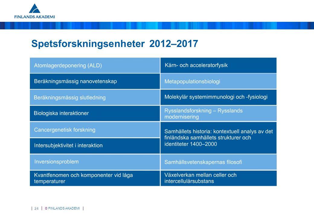 © FINLANDS AKADEMI 24 Spetsforskningsenheter 2012–2017