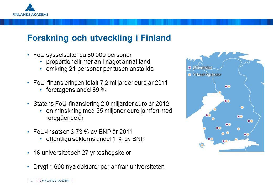 © FINLANDS AKADEMI 3 Forskning och utveckling i Finland FoU sysselsätter ca 80 000 personer proportionellt mer än i något annat land omkring 21 personer per tusen anställda FoU-finansieringen totalt 7,2 miljarder euro år 2011 företagens andel 69 % Statens FoU-finansiering 2,0 miljarder euro år 2012 en minskning med 55 miljoner euro jämfört med föregående år FoU-insatsen 3,73 % av BNP år 2011 offentliga sektorns andel 1 % av BNP 16 universitet och 27 yrkeshögskolor Drygt 1 600 nya doktorer per år från universiteten