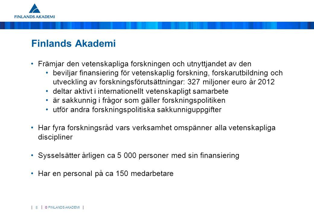 © FINLANDS AKADEMI 29 Internationellt samarbete och forskarmobilitet Stöds inom alla finansieringsmöjligheter, såsom: Akademiprojekt Forskningsprogram och program för spetsforskningsenheter: gemensamma utlysningar, nätverk Finland Distinguished Professor Programme (FiDiPro) Akademiforskare och forskardoktorer Stipendier för forskarutbildning vid EUI, forskardoktor vid EUI ERA-NET-utlysningar Forskarmobilitet och annat samarbete som bygger på bilaterala avtal Internationella utlysningar tillsammans med utländska finansieringsorganisationer