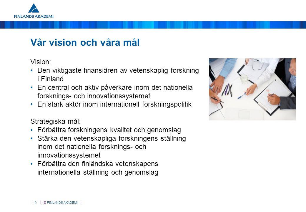 © FINLANDS AKADEMI 9 Vår vision och våra mål Vision: Den viktigaste finansiären av vetenskaplig forskning i Finland En central och aktiv påverkare ino