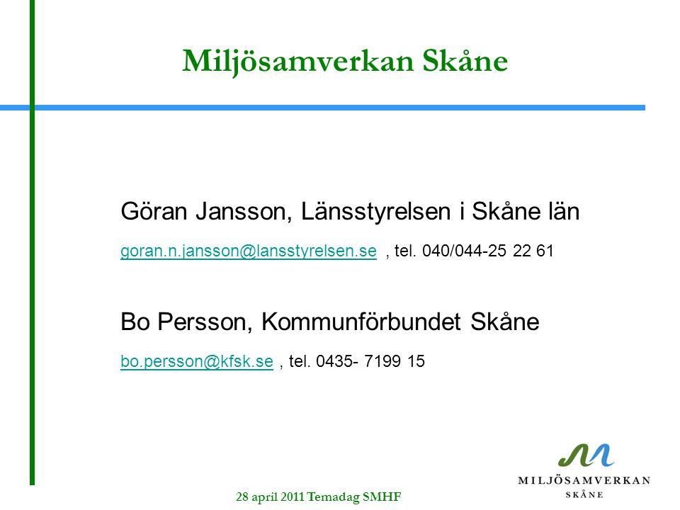 28 april 2011 Temadag SMHF Miljösamverkan Skåne Göran Jansson, Länsstyrelsen i Skåne län goran.n.jansson@lansstyrelsen.segoran.n.jansson@lansstyrelsen.se, tel.