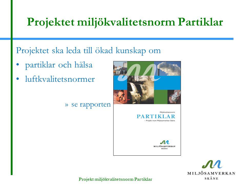 Projektet miljökvalitetsnorm Partiklar Projektet ska leda till ökad kunskap om partiklar och hälsa luftkvalitetsnormer »se rapporten Projekt miljökvalitetsnorm Partiklar