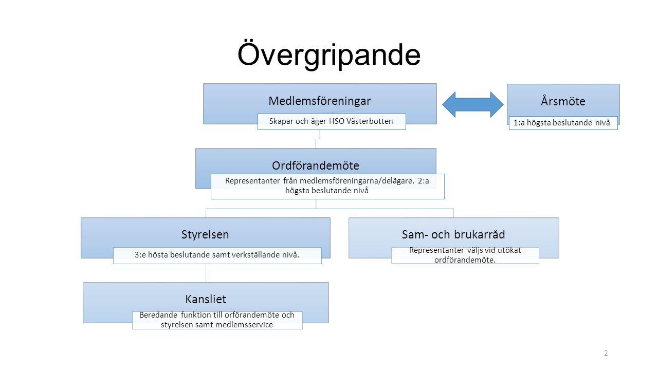 Övergripande Medlemsföreningar Skapar och äger HSO Västerbotten Ordförandemöte Representanter från medlemsföreningarna/delägare. 2:a högsta beslutande