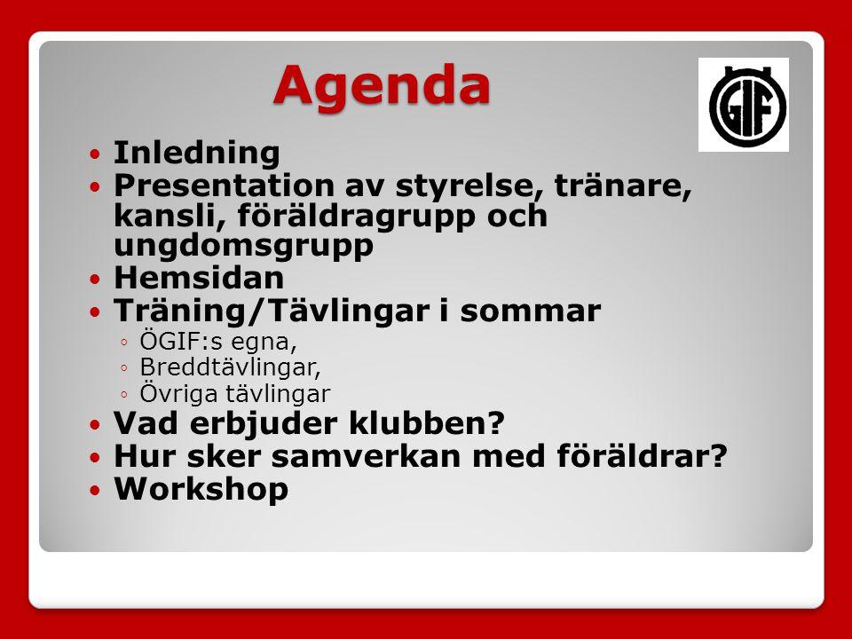 Agenda Inledning Presentation av styrelse, tränare, kansli, föräldragrupp och ungdomsgrupp Hemsidan Träning/Tävlingar i sommar ◦ÖGIF:s egna, ◦Breddtävlingar, ◦Övriga tävlingar Vad erbjuder klubben.