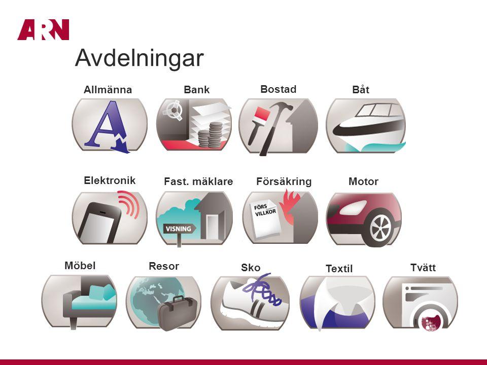 AllmännaBank Bostad Båt Elektronik Försäkring Textil Fast. mäklare Möbel Motor Resor SkoTvätt Avdelningar