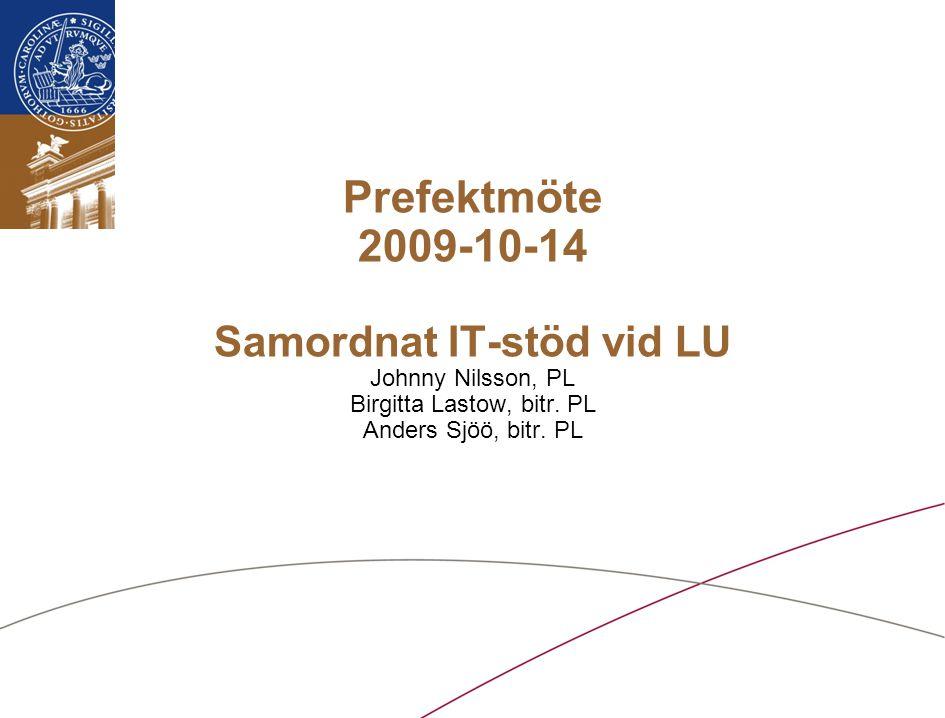 Lunds universitet / Samordnat IT-stöd vid LU / Oktober 2009 Agenda Inledning Presentation av projektet –Bakgrund –Syfte och målsättning –Omfattning och arbetsgång –Projektplan –Pågående aktiviteter Fika Diskussion Summering och avslutning