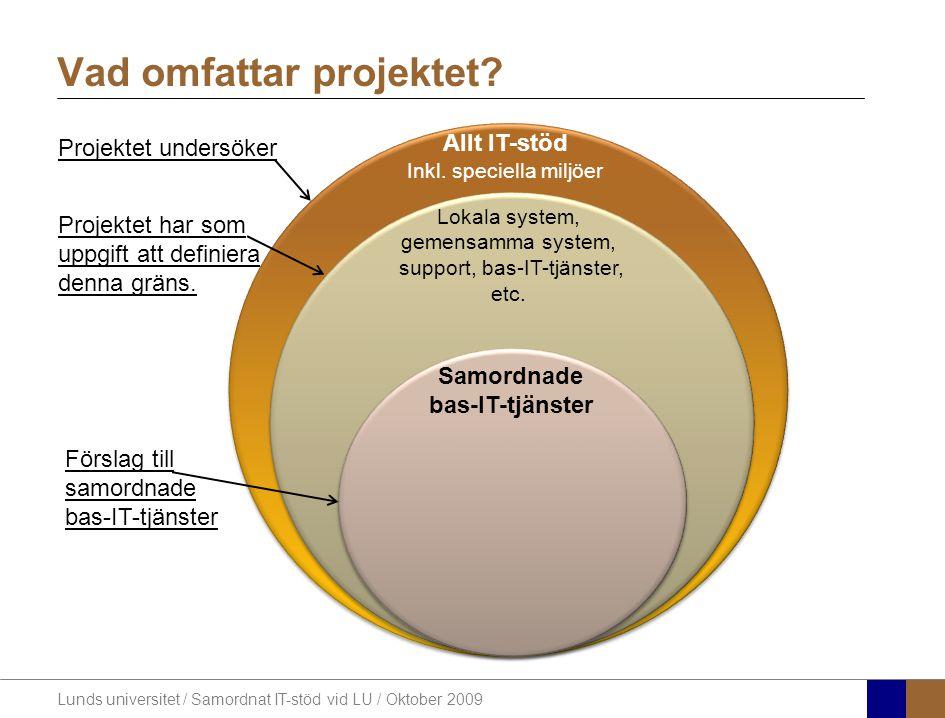 Lunds universitet / Samordnat IT-stöd vid LU / Oktober 2009 Vad omfattar projektet? Allt IT-stöd Inkl. speciella miljöer Lokala system, gemensamma sys
