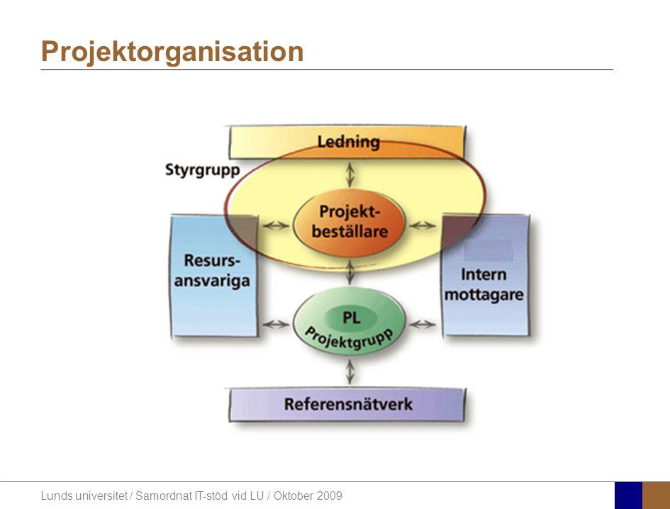 Lunds universitet / Samordnat IT-stöd vid LU / Oktober 2009 Projektorganisation
