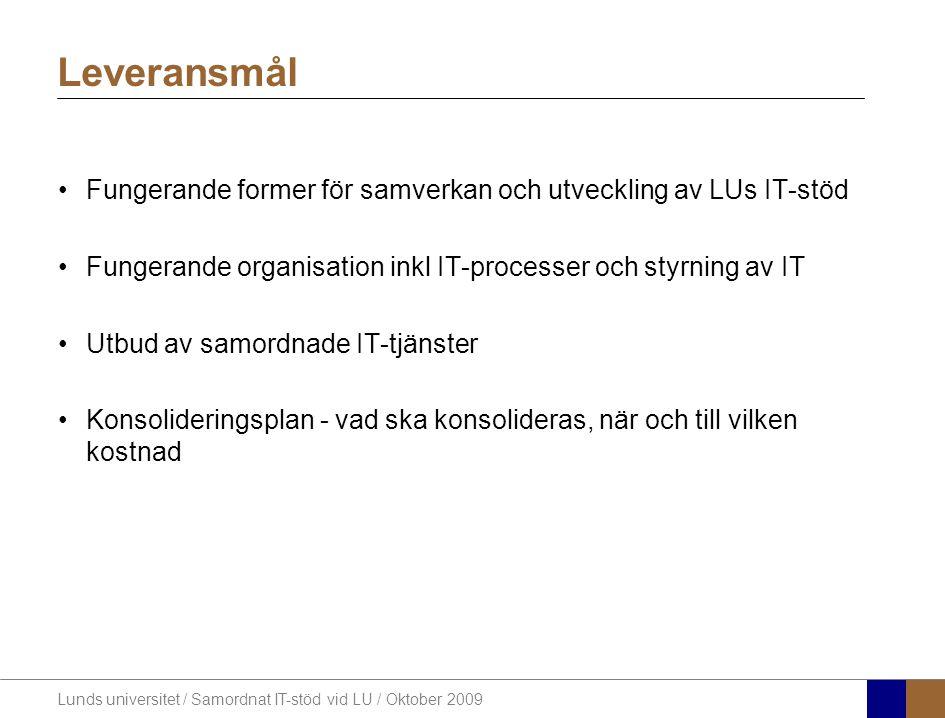 Lunds universitet / Samordnat IT-stöd vid LU / Oktober 2009 Fungerande former för samverkan och utveckling av LUs IT-stöd Fungerande organisation inkl IT-processer och styrning av IT Utbud av samordnade IT-tjänster Konsolideringsplan - vad ska konsolideras, när och till vilken kostnad Leveransmål