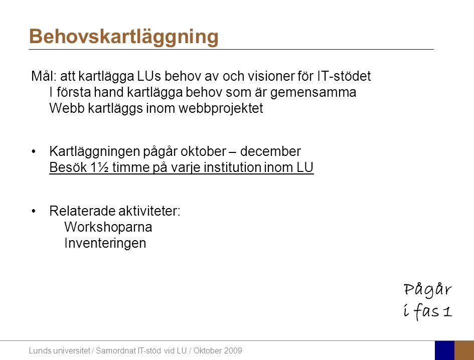 Lunds universitet / Samordnat IT-stöd vid LU / Oktober 2009 Behovskartläggning Mål: att kartlägga LUs behov av och visioner för IT-stödet I första han
