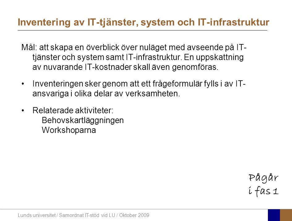 Lunds universitet / Samordnat IT-stöd vid LU / Oktober 2009 Inventering av IT-tjänster, system och IT-infrastruktur Mål: att skapa en överblick över nuläget med avseende på IT- tjänster och system samt IT-infrastruktur.