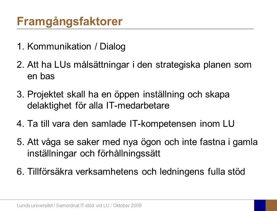 Lunds universitet / Samordnat IT-stöd vid LU / Oktober 2009 Framgångsfaktorer 1.Kommunikation / Dialog 2.Att ha LUs målsättningar i den strategiska pl