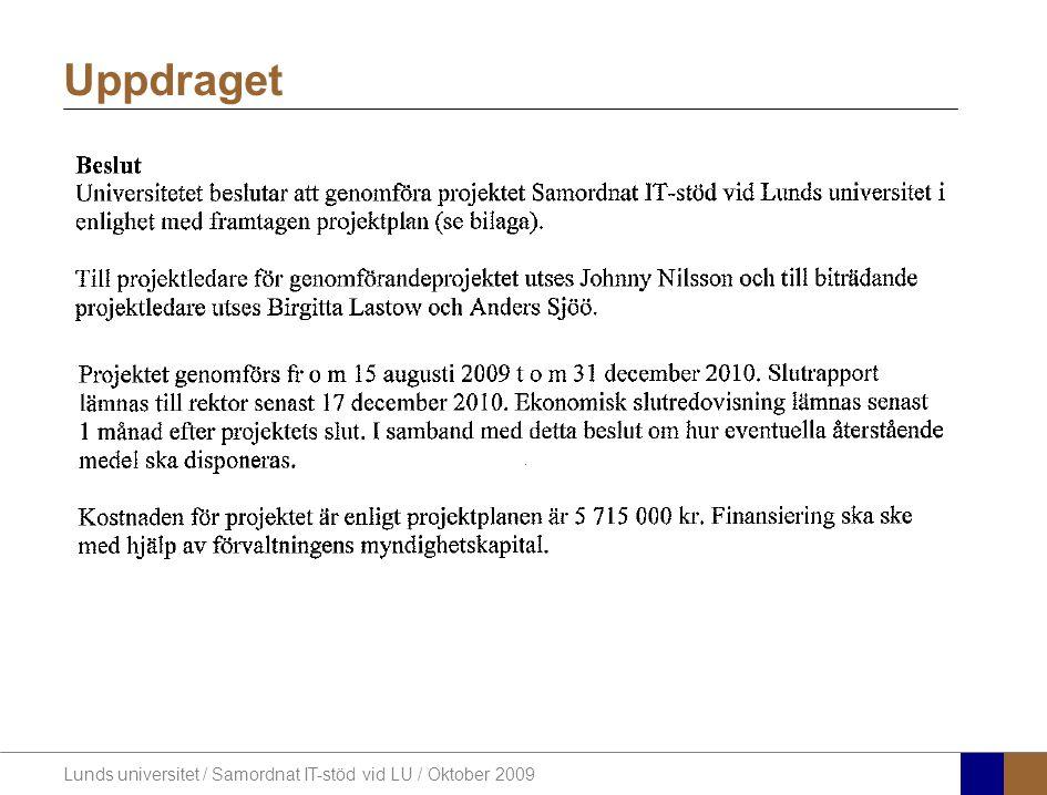 Lunds universitet / Samordnat IT-stöd vid LU / Oktober 2009 Framgångsfaktorer 1.Kommunikation / Dialog 2.Att ha LUs målsättningar i den strategiska planen som en bas 3.Projektet skall ha en öppen inställning och skapa delaktighet för alla IT-medarbetare 4.Ta till vara den samlade IT-kompetensen inom LU 5.Att våga se saker med nya ögon och inte fastna i gamla inställningar och förhållningssätt 6.Tillförsäkra verksamhetens och ledningens fulla stöd