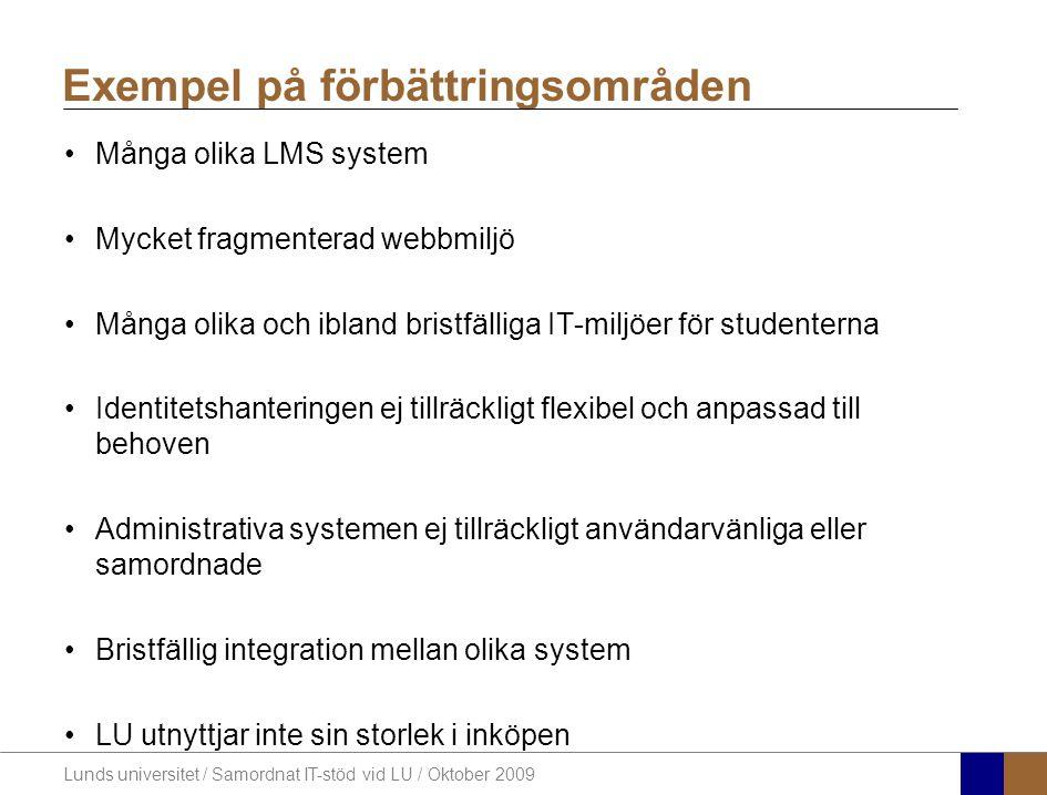 Lunds universitet / Samordnat IT-stöd vid LU / Oktober 2009 Många olika LMS system Mycket fragmenterad webbmiljö Många olika och ibland bristfälliga IT-miljöer för studenterna Identitetshanteringen ej tillräckligt flexibel och anpassad till behoven Administrativa systemen ej tillräckligt användarvänliga eller samordnade Bristfällig integration mellan olika system LU utnyttjar inte sin storlek i inköpen Exempel på förbättringsområden