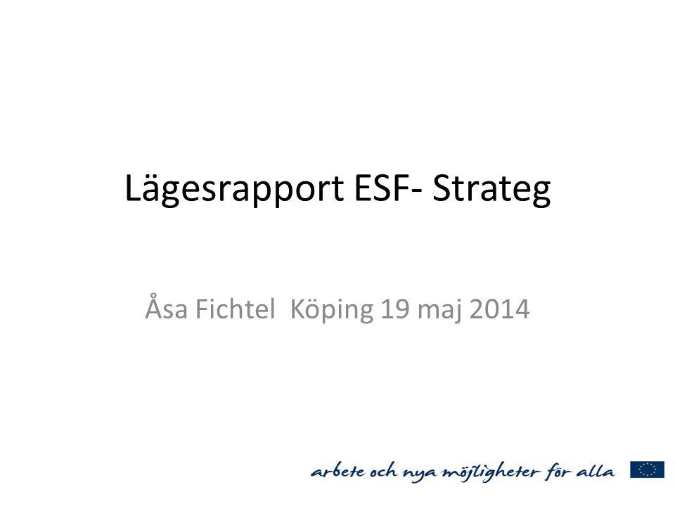 Lägesrapport ESF- Strateg Åsa Fichtel Köping 19 maj 2014