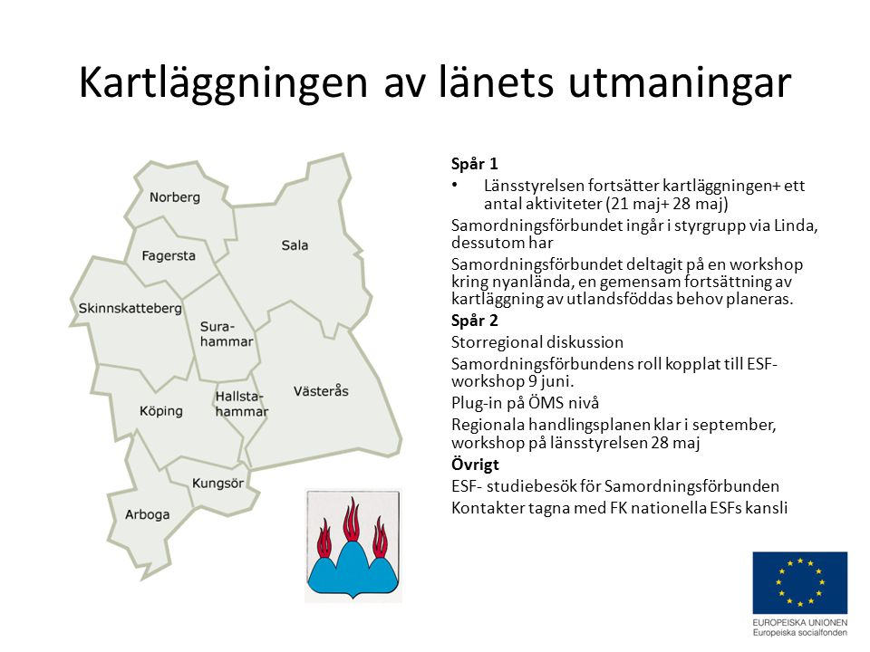 Kartläggningen av länets utmaningar Spår 1 Länsstyrelsen fortsätter kartläggningen+ ett antal aktiviteter (21 maj+ 28 maj) Samordningsförbundet ingår i styrgrupp via Linda, dessutom har Samordningsförbundet deltagit på en workshop kring nyanlända, en gemensam fortsättning av kartläggning av utlandsföddas behov planeras.