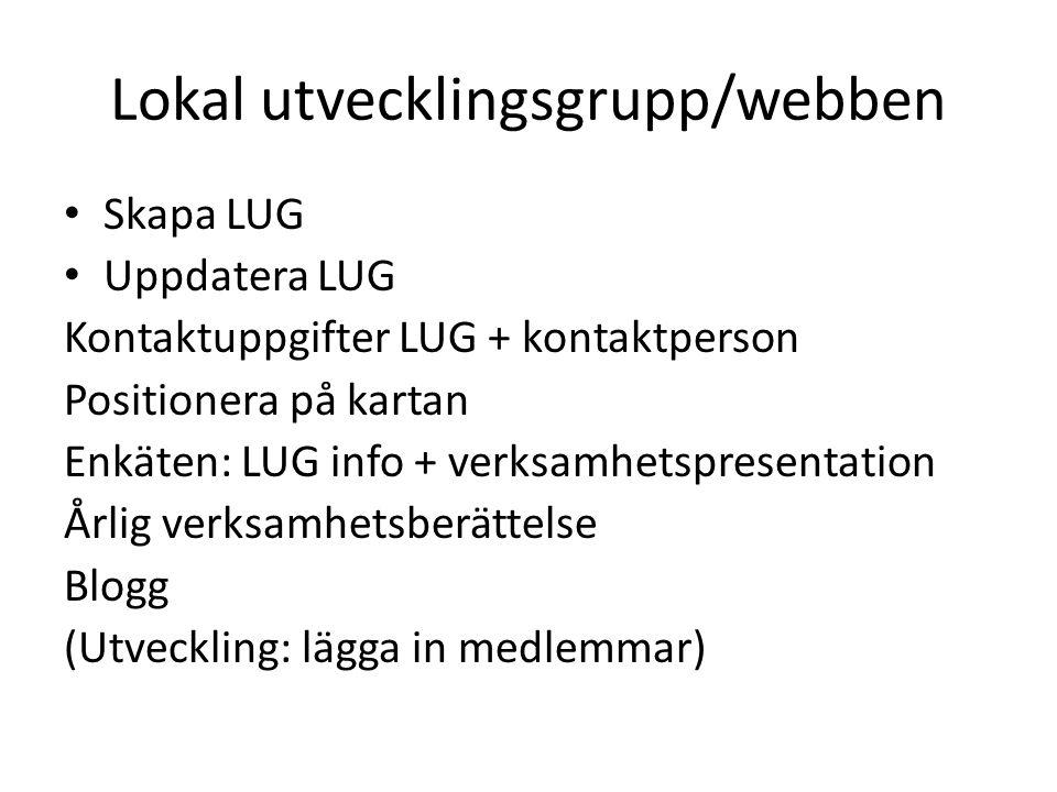 Lokal utvecklingsgrupp/webben Skapa LUG Uppdatera LUG Kontaktuppgifter LUG + kontaktperson Positionera på kartan Enkäten: LUG info + verksamhetspresen