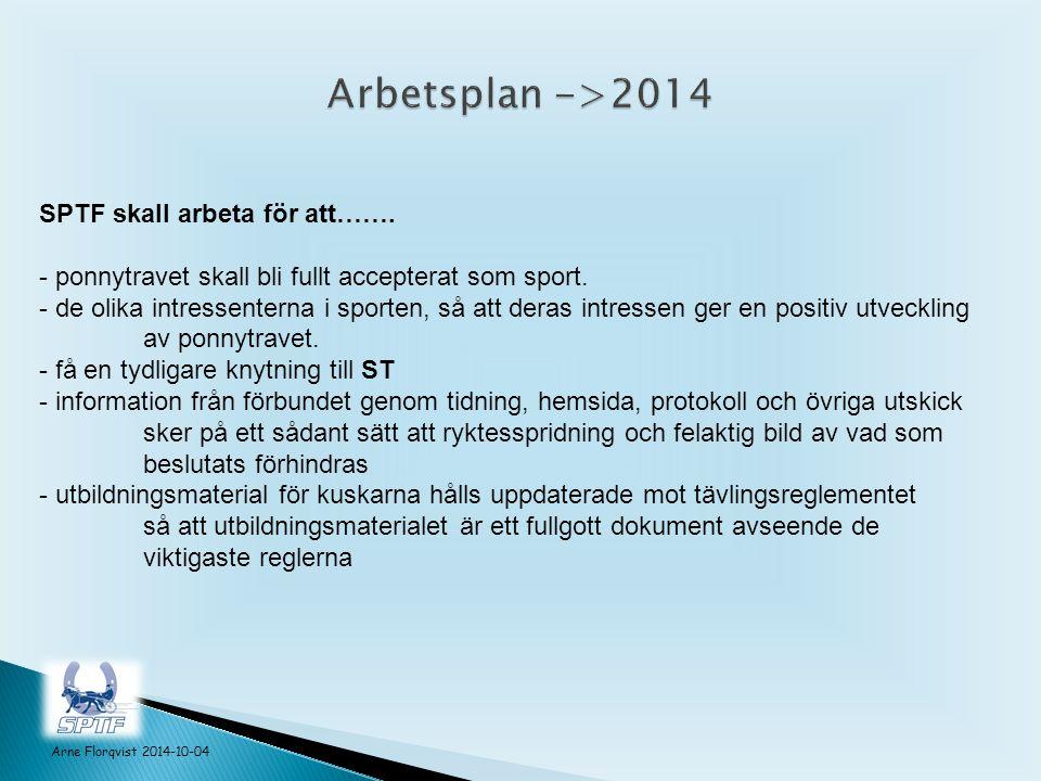 Arne Florqvist 2014-10-04 SPTF skall arbeta för att…….