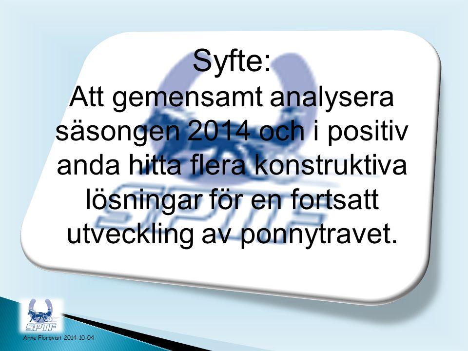 Syfte: Att gemensamt analysera säsongen 2014 och i positiv anda hitta flera konstruktiva lösningar för en fortsatt utveckling av ponnytravet.