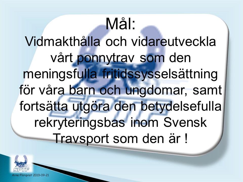 Mål: Vidmakthålla och vidareutveckla vårt ponnytrav som den meningsfulla fritidssysselsättning för våra barn och ungdomar, samt fortsätta utgöra den betydelsefulla rekryteringsbas inom Svensk Travsport som den är .