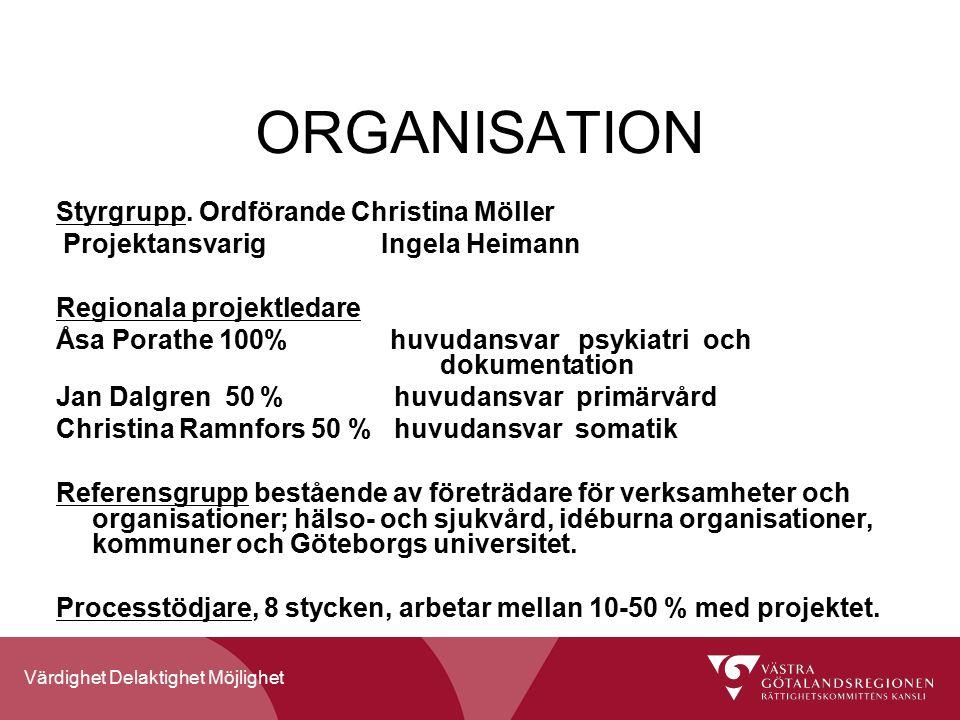 Värdighet Delaktighet Möjlighet ORGANISATION Styrgrupp.