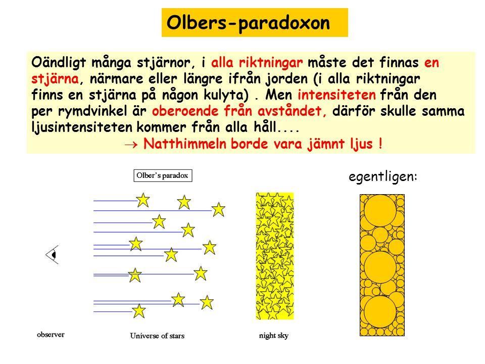 Olbers-paradoxon Oändligt många stjärnor, i alla riktningar måste det finnas en stjärna, närmare eller längre ifrån jorden (i alla riktningar finns en