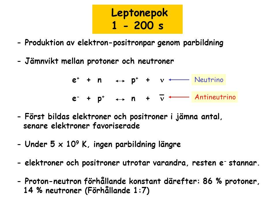 Leptonepok 1 - 200 s - Produktion av elektron-positronpar genom parbildning - Jämnvikt mellan protoner och neutroner e + + n p + + e - + p + n + - För