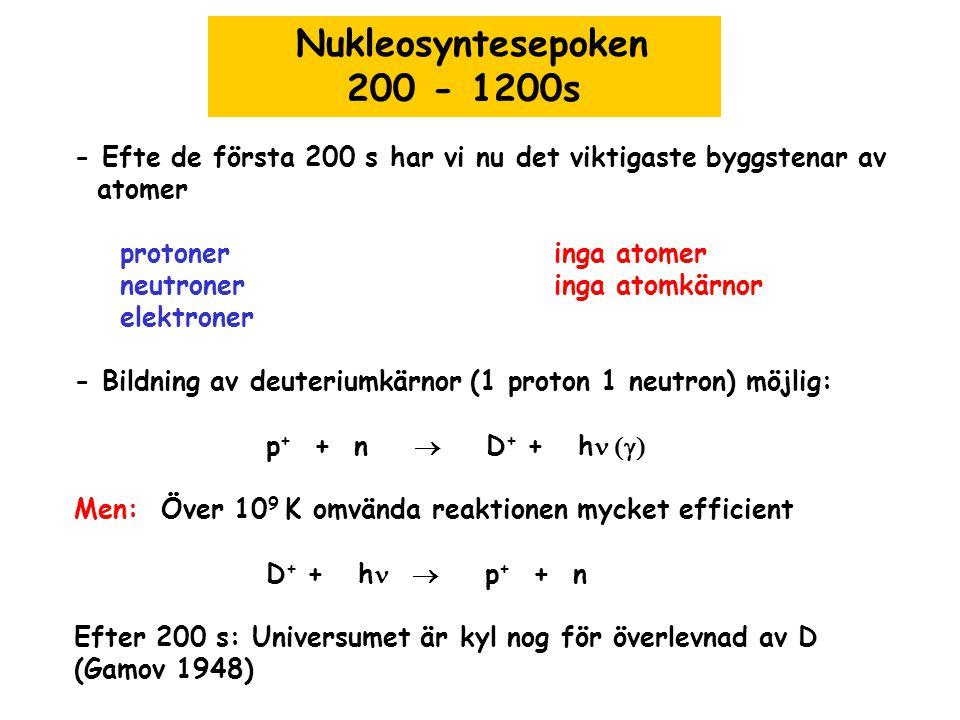 Nukleosyntesepoken 200 - 1200s - Efte de första 200 s har vi nu det viktigaste byggstenar av atomer protoneringa atomer neutroneringa atomkärnor elekt