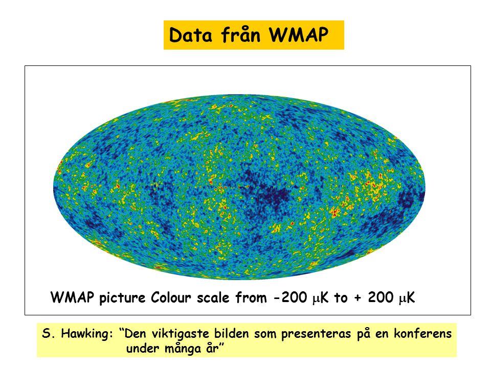 "Data från WMAP WMAP picture Colour scale from -200  K to + 200  K S. Hawking: ""Den viktigaste bilden som presenteras på en konferens under många år"""