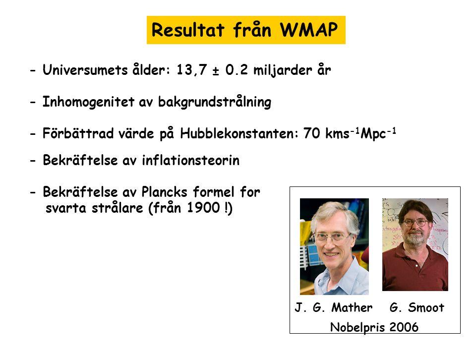 Resultat från WMAP - Universumets ålder: 13,7 ± 0.2 miljarder år - Inhomogenitet av bakgrundstrålning - Förbättrad värde på Hubblekonstanten: 70 kms -