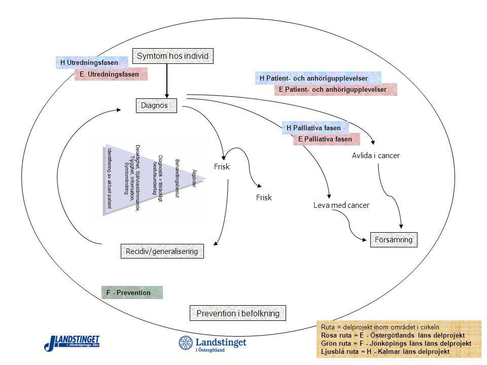 Diagnos Recidiv/generalisering Avlida i cancer Frisk Leva med cancer Frisk Prevention i befolkning Ruta = delprojekt inom området i cirkeln Rosa ruta = E - Östergötlands läns delprojekt Grön ruta = F - Jönköpings läns läns delprojekt Ljusblå ruta = H - Kalmar läns delprojekt E Palliativa fasen E Utredningsfasen F - Prevention E Patient- och anhörigupplevelser Försämring Symtom hos individ H Utredningsfasen H Patient- och anhörigupplevelser H Palliativa fasen
