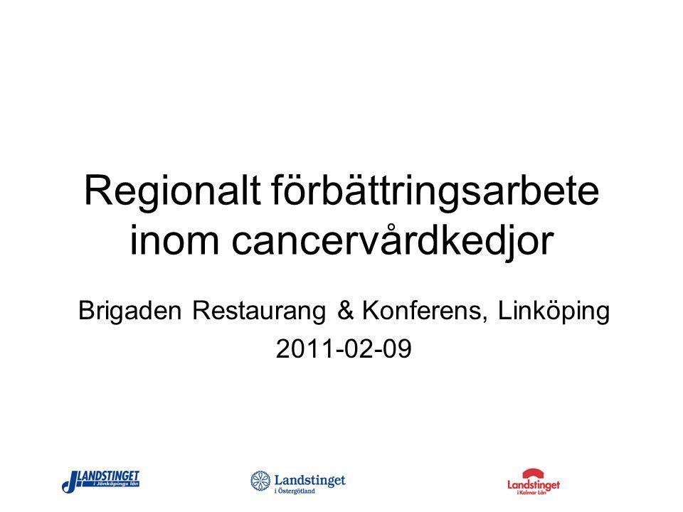 Regionalt förbättringsarbete inom cancervårdkedjor Brigaden Restaurang & Konferens, Linköping 2011-02-09