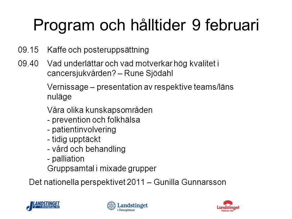 Program och hålltider 9 februari 09.15 Kaffe och posteruppsättning 09.40 Vad underlättar och vad motverkar hög kvalitet i cancersjukvården? – Rune Sjö