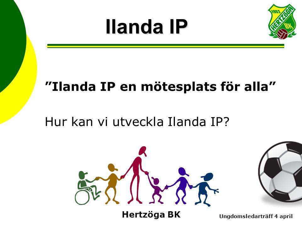 Ungdomsledarträff 4 april Hertzöga BK Ilanda IP Ilanda IP en mötesplats för alla Hur kan vi utveckla Ilanda IP