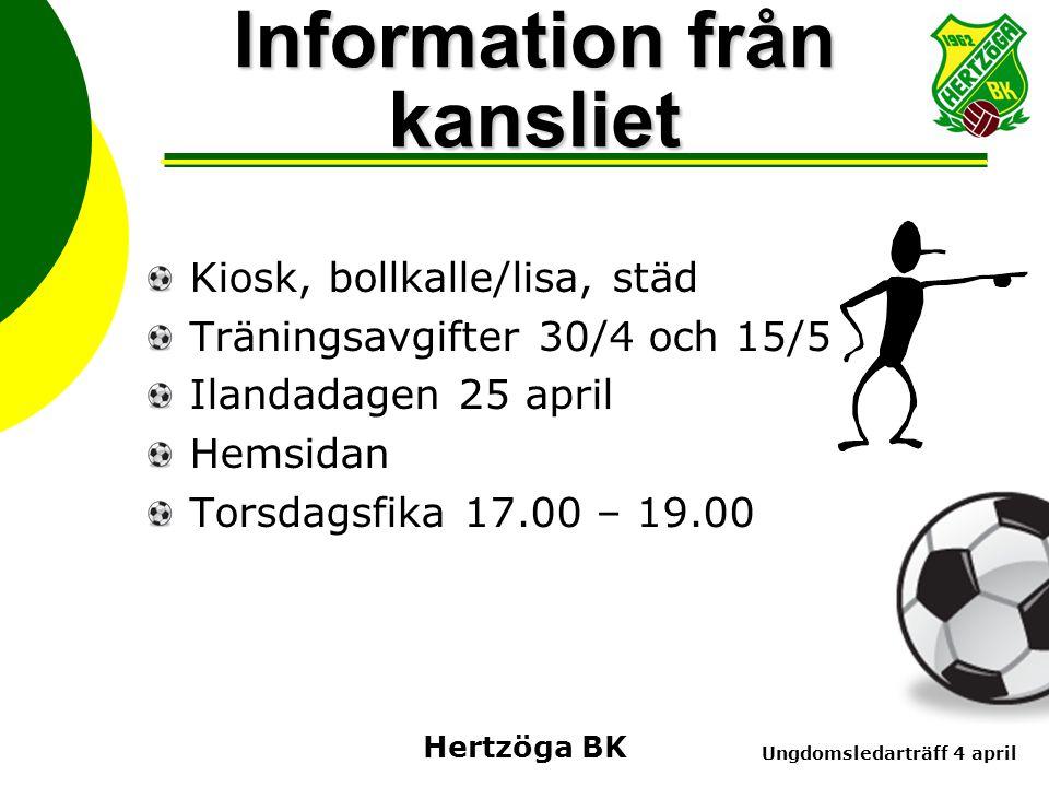 Ungdomsledarträff 4 april Hertzöga BK Information från kansliet Kiosk, bollkalle/lisa, städ Träningsavgifter 30/4 och 15/5 Ilandadagen 25 april Hemsidan Torsdagsfika 17.00 – 19.00