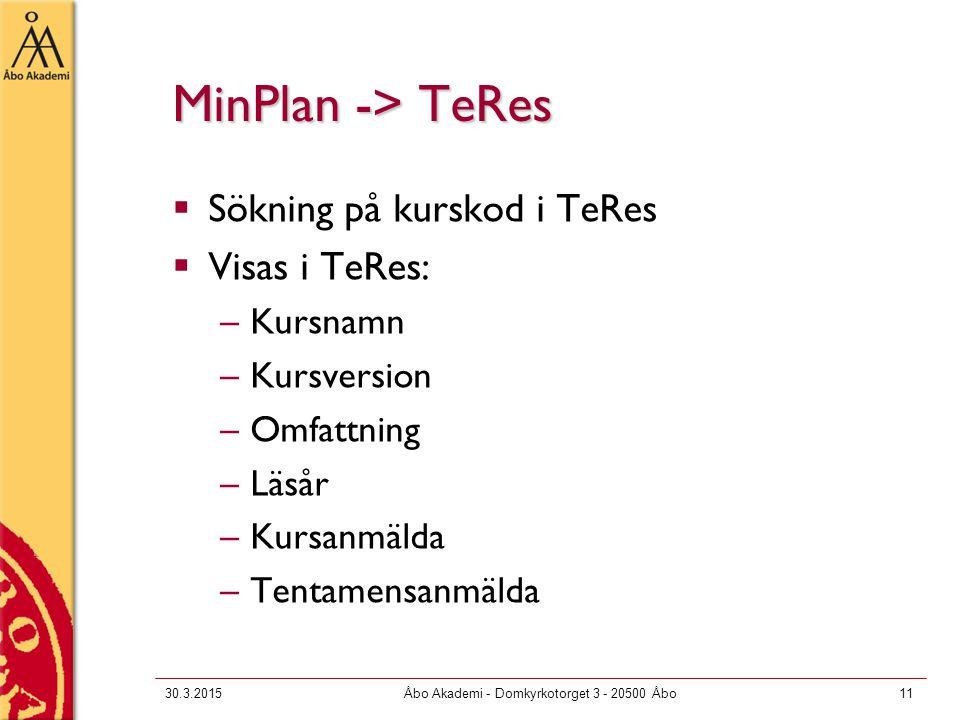 MinPlan -> TeRes  Sökning på kurskod i TeRes  Visas i TeRes: –Kursnamn –Kursversion –Omfattning –Läsår –Kursanmälda –Tentamensanmälda 30.3.2015Åbo Akademi - Domkyrkotorget 3 - 20500 Åbo11