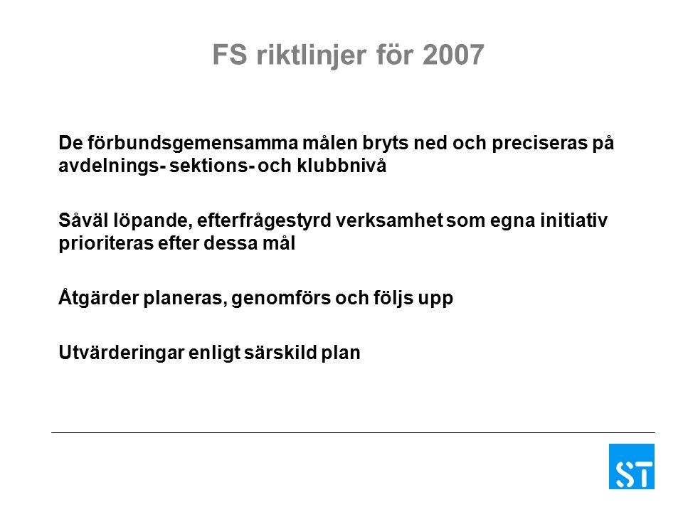 FS riktlinjer för 2007 De förbundsgemensamma målen bryts ned och preciseras på avdelnings- sektions- och klubbnivå Såväl löpande, efterfrågestyrd verksamhet som egna initiativ prioriteras efter dessa mål Åtgärder planeras, genomförs och följs upp Utvärderingar enligt särskild plan