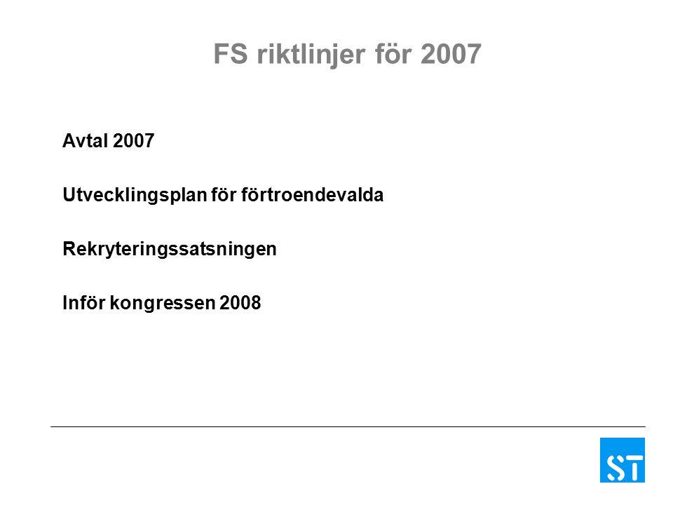 FS riktlinjer för 2007 Avtal 2007 Utvecklingsplan för förtroendevalda Rekryteringssatsningen Inför kongressen 2008