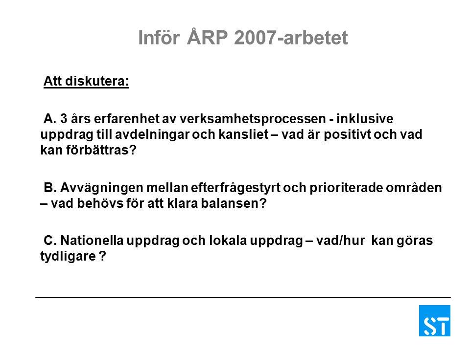 Inför ÅRP 2007-arbetet Att diskutera: A.