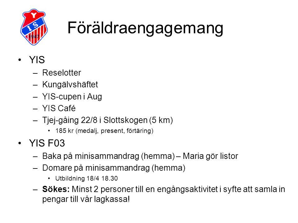 Föräldraengagemang YIS –Reselotter –Kungälvshäftet –YIS-cupen i Aug –YIS Café –Tjej-gåing 22/8 i Slottskogen (5 km) 185 kr (medalj, present, förtäring