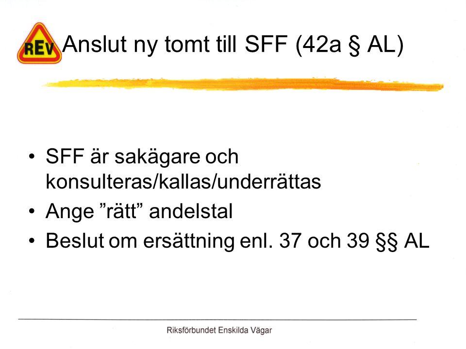 Anslut ny tomt till SFF (42a § AL) SFF är sakägare och konsulteras/kallas/underrättas Ange rätt andelstal Beslut om ersättning enl.
