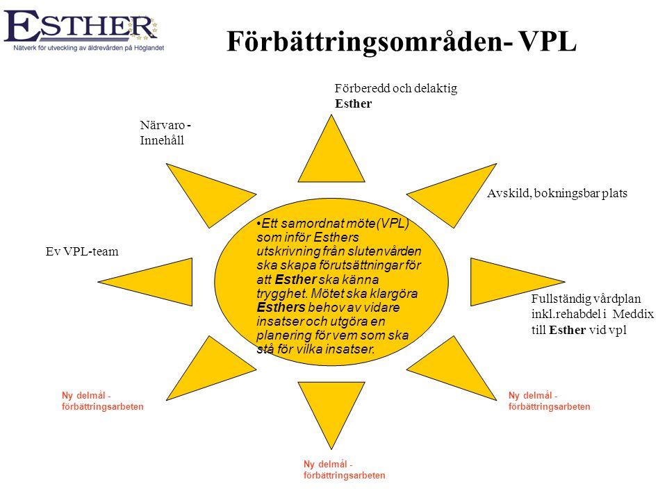 Förbättringsområden- VPL Avskild, bokningsbar plats Närvaro - Innehåll Förberedd och delaktig Esther Ett samordnat möte(VPL) som inför Esthers utskriv