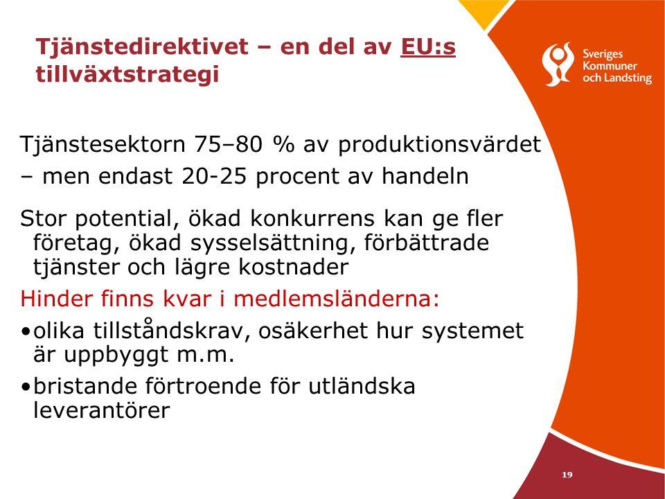 19 Tjänstedirektivet – en del av EU:s tillväxtstrategi Tjänstesektorn 75–80 % av produktionsvärdet – men endast 20-25 procent av handeln Stor potentia