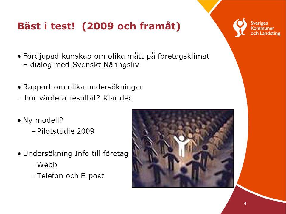 4 Bäst i test! (2009 och framåt) Fördjupad kunskap om olika mått på företagsklimat – dialog med Svenskt Näringsliv Rapport om olika undersökningar – h