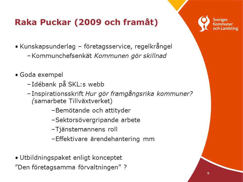 5 Raka Puckar (2009 och framåt) Kunskapsunderlag – företagsservice, regelkrångel –Kommunchefsenkät Kommunen gör skillnad Goda exempel –Idébank på SKL: