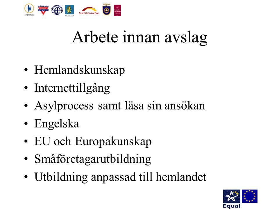 Arbete innan avslag Hemlandskunskap Internettillgång Asylprocess samt läsa sin ansökan Engelska EU och Europakunskap Småföretagarutbildning Utbildning anpassad till hemlandet