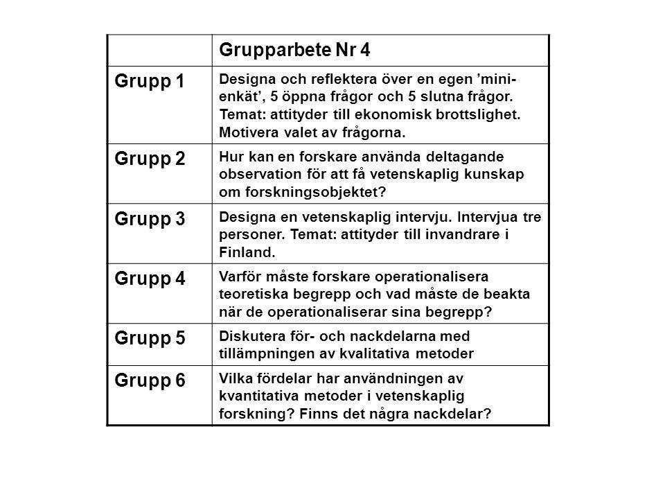 Grupparbete Nr 4 Grupp 1 Designa och reflektera över en egen 'mini- enkät', 5 öppna frågor och 5 slutna frågor. Temat: attityder till ekonomisk brotts