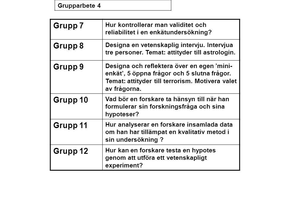 Grupp 7 Hur kontrollerar man validitet och reliabilitet i en enkätundersökning? Grupp 8 Designa en vetenskaplig intervju. Intervjua tre personer. Tema
